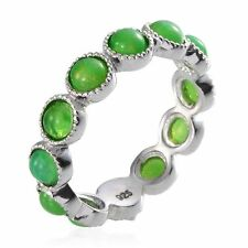 UK M,Q GREEN FIRE OPAL Platinum on Sterling Silver FULL ETERNITY RING solid 925