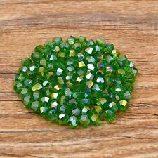 Swarovski 5301# 4 mm Bicone Crystal bead E 100 Pieces Grass green AB
