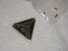 TRIUMPH 650 TWIN Brass Timing Cover Patent Plate Badge Tag 70-2909