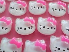"85! Hello Kitty With Bow Flatback Resin Embellishments - 17MM/0.7`"" - Pink Bows"