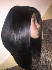 "14"" Graduated Bob 100% Virgin Peruvian Hair Wig, 4 x 4 Free Part Lace Closure"