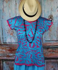 Hand Embroidered Hot Pink & Turquoise Huipil Jalapa Oaxaca Mexico Hippie Cowgirl