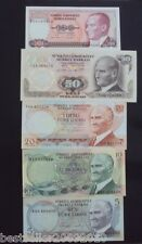 TURKEY 5 PCS SET 5 10 20 50 AND 100 LIRA UNC # T5