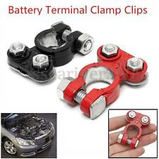 2pcs Aluminum Universal Car Battery Terminal Clamp Clips Connector Red + Black