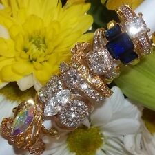 NOS Seta Gold Plated Ring Lot B88 sz 8 - 8 3/4 Halo Solitaire Eternity Band CZ