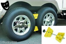 Camco RV Wheel Stop Stabilize Travel Trailer Small Wheel Tire Chock Camper Stop