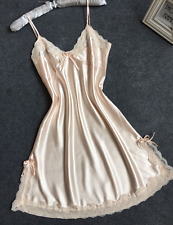 Lovely Quality Choice 6 Colours Long Silk & Lace Nightdress Gown Slip Lingerie