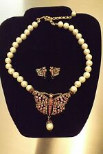 HEIDI DAUS Monarch Madness Pink Butterfly Faux Pearl Necklace Earrings Set