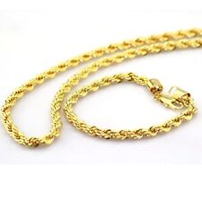 Mens 18k Yellow Gold Plated 24in Rope Chain Necklace 4mm & Bracelet Set
