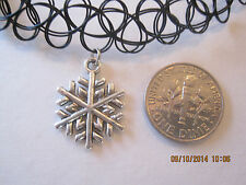 black stretchy tattoo choker necklace with silver snowflake charm - retro/boho