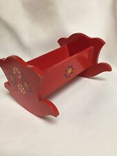 Dollhouse Miniature Wood Cradle in Red Paint with Flowers ~ Antique ~Germany