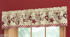 Country Heart & Star Window Valance INHAND Kitchen Berry Branch Rustic Primitive