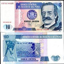PERU 10 INTIS 1987 P 129 UNC