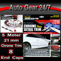 21mm Chrome Car Van Body Door Trim Bumper Protection Styling Strip with End Caps