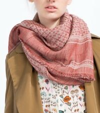"Zara Pink & Ecru Jacquard Scarf Shawl Throw BNWT "" Sold Out"""