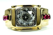 Men's 2.5 ct Topaz & Ruby Band Ring in 14k Solid Yellow Gold