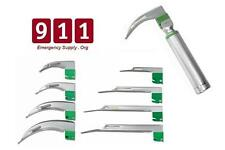Fiber Optic Intubation Kit Laryngoscope Miller & Mac Blades - Handle 9 Piece