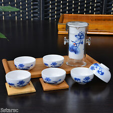 Chinese Painting Lotus Gongfu Cha Tea Cup Glass Ceramic Teapot Set With Infuser