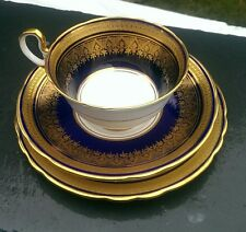 Rare Aynsley Bone China Simcoe, Cobalt blue Gold Trio cabinet cup, 7410