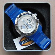 NIB Fossil Watch, Casual unisex Blue Carbonite, 3 dial, date, Box, Manual, Tags
