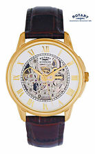 Rotary Men's GS03863/02 Automatic Skeleton Gold Plated Swiss Watch RRP £225