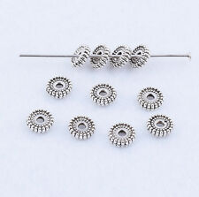 Hot 50pcs Round Tibetan Silver Charm Spacer Beads Jewelry Find 6X1.5mm
