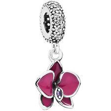 Original PANDORA Charm Anhänger Element 791554 EN69 Orchidee Silber Bead