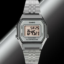 Casio LA-680WA-7D Ladies Silver Digital Watch Silver Steel Band Retro Vintage