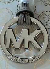 NEW MICHAEL KORS LARGE SILVER MK CHARM PEARL GREY LEATHER HANDBAG FOB AUTHENTIC!