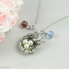 N6 Dainty Silver Tone Pearl Birds Nest Pendant Necklace - Gift Pouch