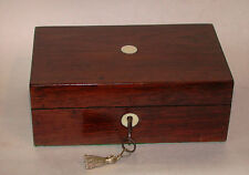 Small Antique Rosewood Sewing Box With Lift Out Tray & Working Key
