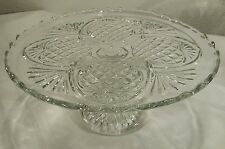 "Antique EAPG Higbee Glass Iris/Pineapple 10"" Pedestal Cake Platter/Plate Cr 1885"