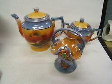 Vintage Lusterware made in Japan 3 pcs Tree in Meadow Tea Pot Sugar Bowl Basket