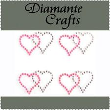 4 x Hot Pink & Clear Diamante Double Hearts Self Adhesive Craft Rhinestone Gems