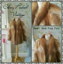 Vintage Luxury Thick Real Red Auburn Fox Fur Coat Stroller Nerz Pelz Uk 8-10-12