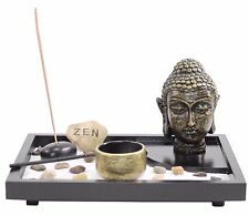 Tabletop Zen Garden Buddha Head Rock Rake Candle Holder Incense Burner Home Gift