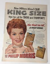 Original Print Ad 1953 PHILIP MORRIS King Size Cigarettes Lucille Ball