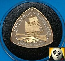 2007 BERMUDA $3 Dollars SHIPWRECK Manilla 1739 Silver Proof & Gold Plated Coin