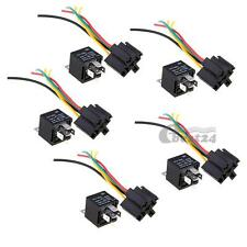 5pcs 12V Volt SPDT Relay + Wire Socket Car Automotive Alarm 40 AMP 30/40A