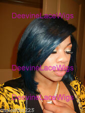 INSTOCK! Bob Blue black/ Navy Blue Layered Virgin Remy Human Hair Full Lace Wig