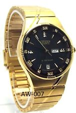 New Citizen Man  Gold-tone, Black-dia 18 Genune-Crystal l Dress Watch