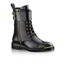 LOUIS VUITTON BLACK GOLD DIPLOMACY RANGER Combat MILITARY BIKER BOOTS 8 38.5