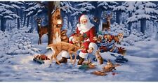 2.6 Yards Cotton Fabric - RJR Good Tidings Santa Woodland Christmas Scene