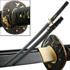"42"" Handmade Japanese Samurai Sword Katana 7.5mm Damascus Blade Real Ray Skin"