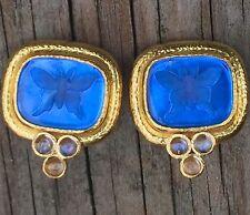ELIZABETH LOCKE 18K Gold Blue Venetian Glass Intaglio earrings with moonstones