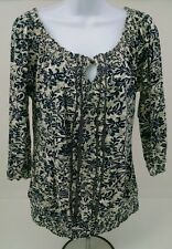 Lucky Brand Womens Peasant Top Navy Blue Off-White Gray Floral ¾ Sleeve Size Med