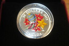 2013 $20 VENETIAN CANDY CANE HOLIDAY SEASON 99.99% FINE SILVER CANADIAN COIN