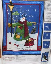 "1 ""Tattered Snowman"" Christmas Lap Quilt/Wallhanging fabric Panel"