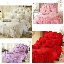 6pc. Queen Size Jacquard Lace Ruffles Cotton Princess Duvet Cover Bedding Set