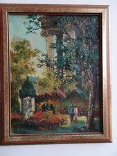 VEDER Flower Market In Europe Near Ancient Columns Oil Painting